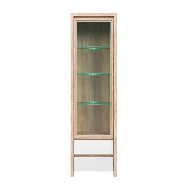 Висок шкаф витрина Каспиан Дъб сонома с бял гланц - отпред