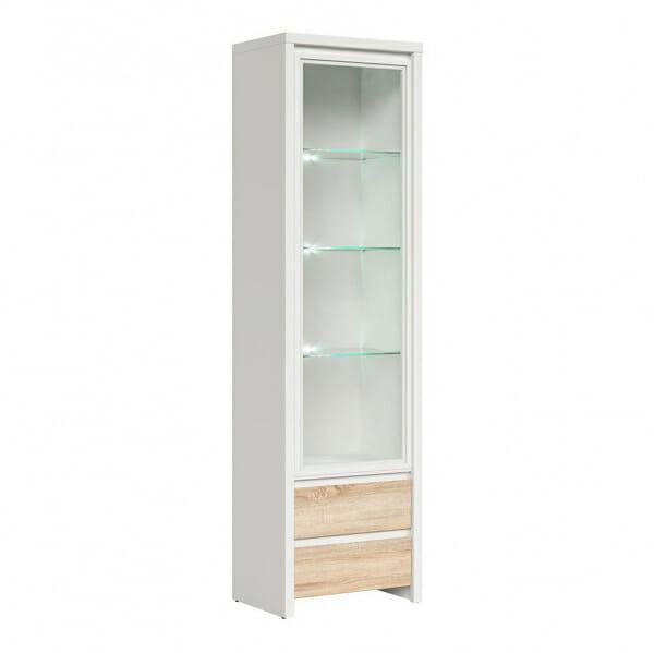 Висок шкаф витрина Каспиан Дъб сонома с бял корпус и осветление