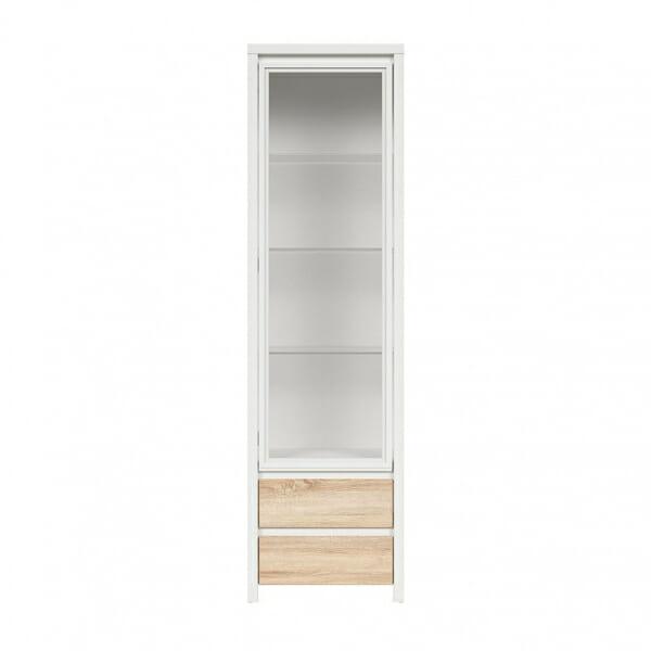 Висок шкаф витрина Каспиан Дъб сонома с бял корпус - отпред