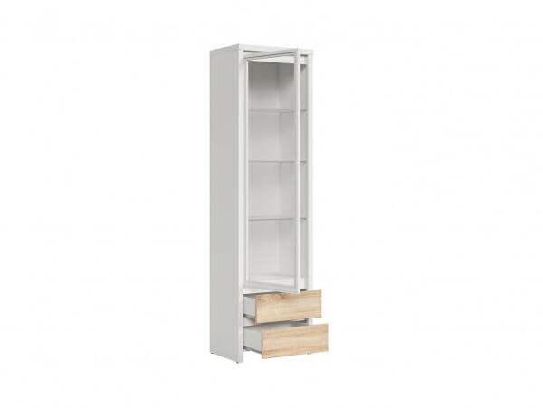 Висок шкаф витрина Каспиан Дъб сонома с бял корпус - разпределение