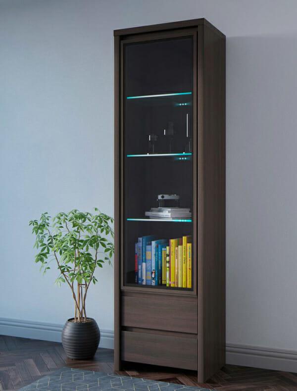 Висок шкаф витрина Каспиан Венге - декор