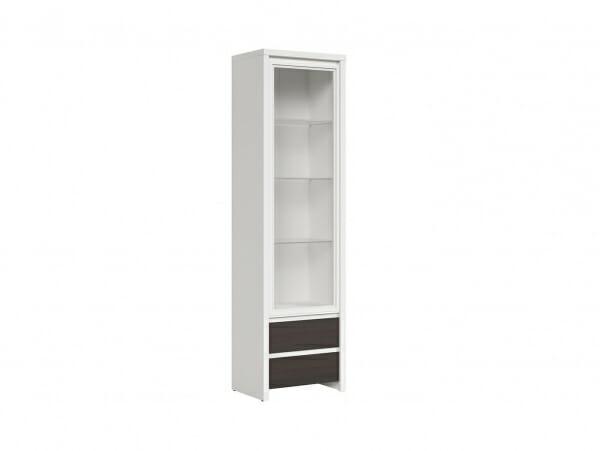 Висок шкаф витрина Каспиан Венге с бял корпус