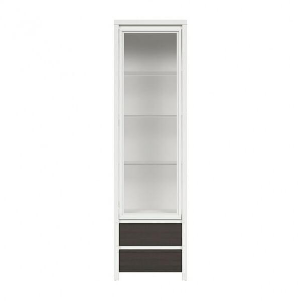 Висок шкаф витрина Каспиан Венге с бял корпус - отпред