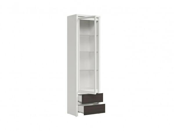 Висок шкаф витрина Каспиан Венге с бял корпус - разпределение