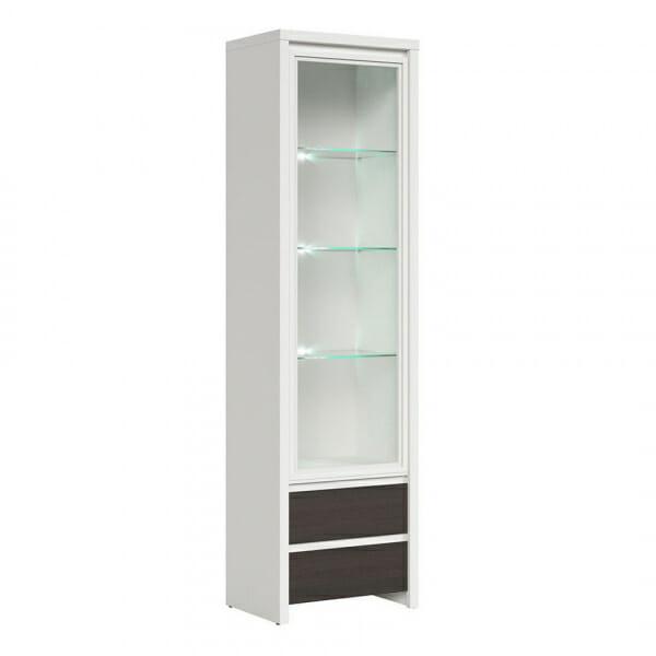 Висок шкаф витрина Каспиан Венге с бял корпус - с осветление