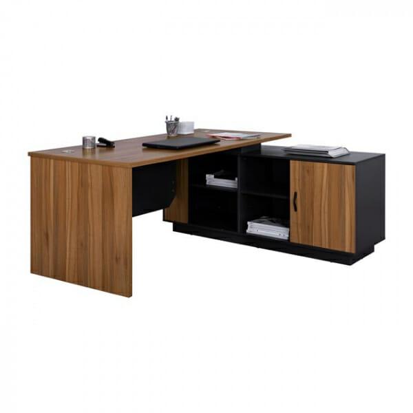 Ъглово офис бюро с шкаф и 4 рафта серия Супра-десен ъгъл