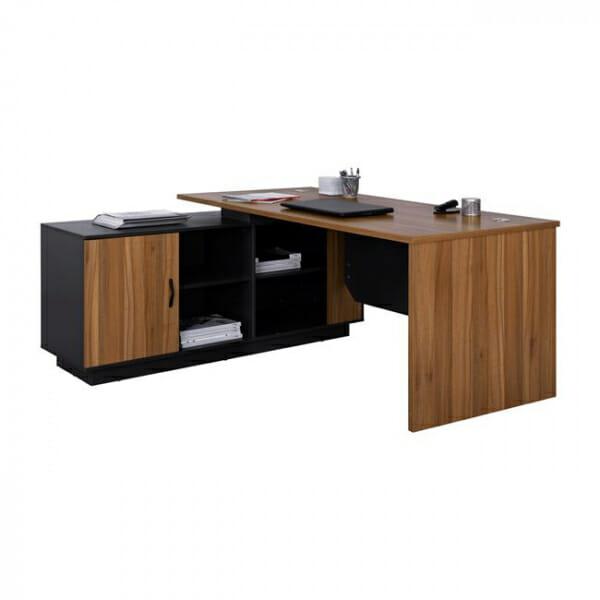 Ъглово офис бюро с шкаф и 4 рафта серия Супра-ляв ъгъл
