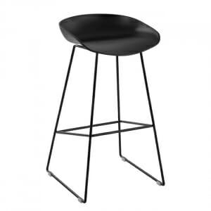 Бар стол с овална седалка и метални крака-черен