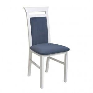 Бял дървен стол със синя дамаска Иденто