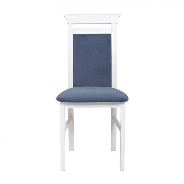 Бял дървен стол със синя дамаска Иденто - отпред
