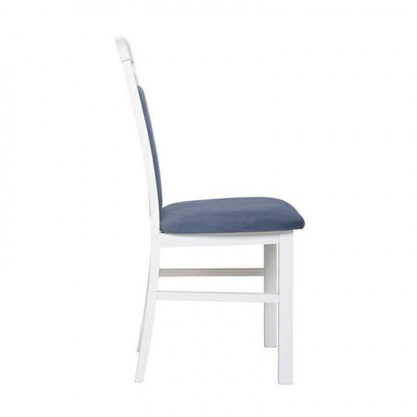 Бял дървен стол със синя дамаска Иденто - отстрани