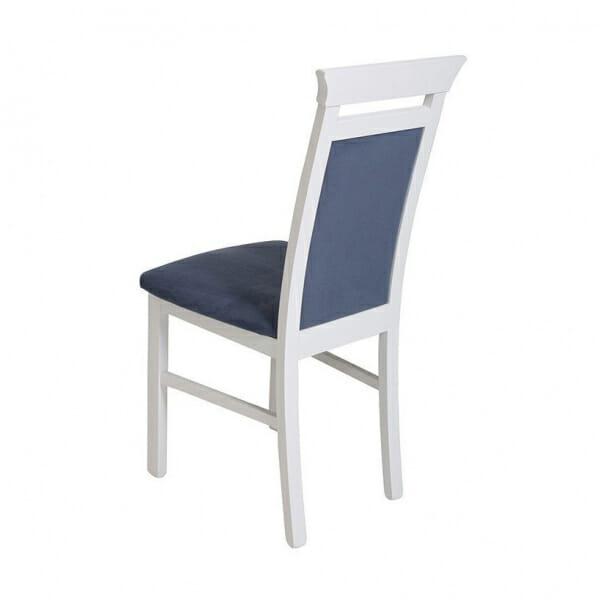 Бял дървен стол със синя дамаска Иденто - отзад