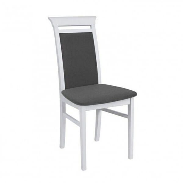 Бял дървен стол със сива дамаска Иденто