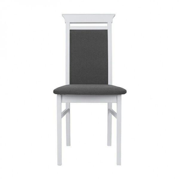 Бял дървен стол със сива дамаска Иденто - отпред