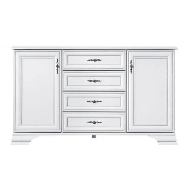 Бял широк шкаф в класически стил Иденто