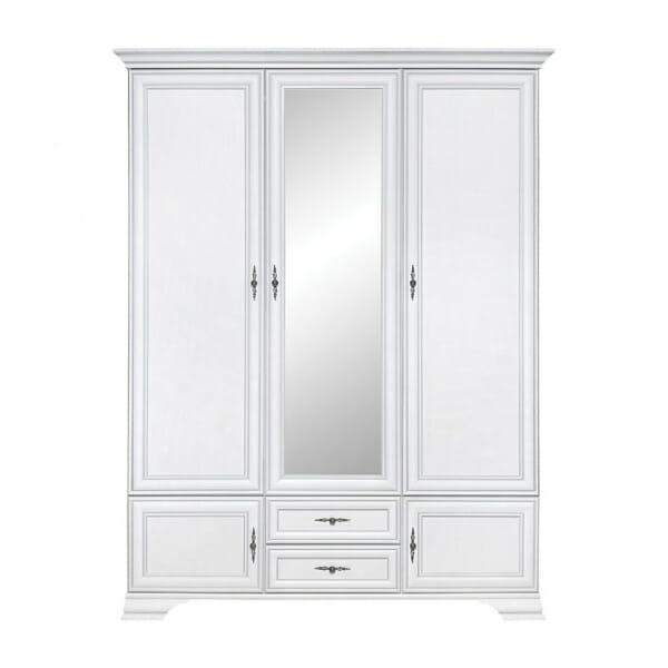 Бял трикрилен гардероб с огледало Иденто