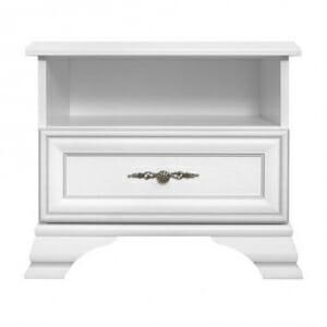 Бял нощно шкафче в класически стил Иденто