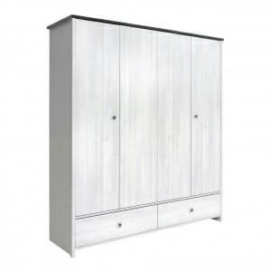 Четирикрилен гардероб с 2 чекмеджета Порто