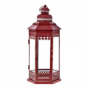 Декоративен метален фенер в червен цвят-размер 1