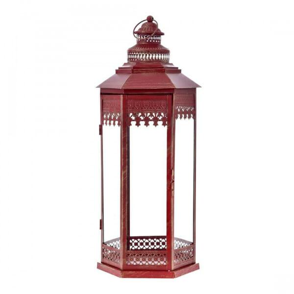 Декоративен метален фенер в червен цвят-размер 2
