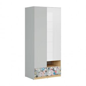 Двукрилен гардероб с бял гланц Нанду - с комикс
