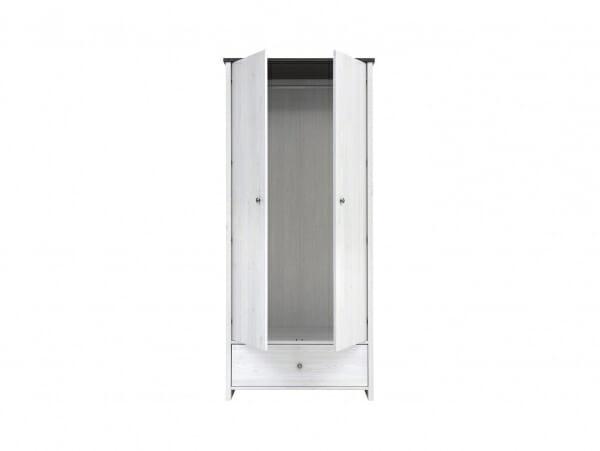 Двукрилен гардероб с чекмедже Порто - разпределение