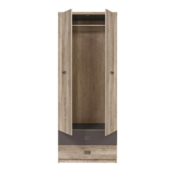 Двукрилен гардероб със старинен вид Малкълм - разпределение