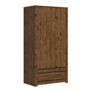 Двукрилен гардероб в тъмен дървесен цвят Када