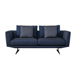 Двуместен диван с текстилна дамаска в син цвят Mina