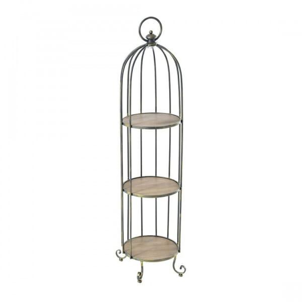 Етажерка от метал и дърво като клетка за птици-размер 1