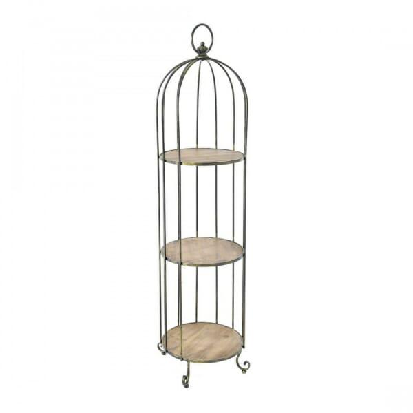 Етажерка от метал и дърво като клетка за птици-размер 2