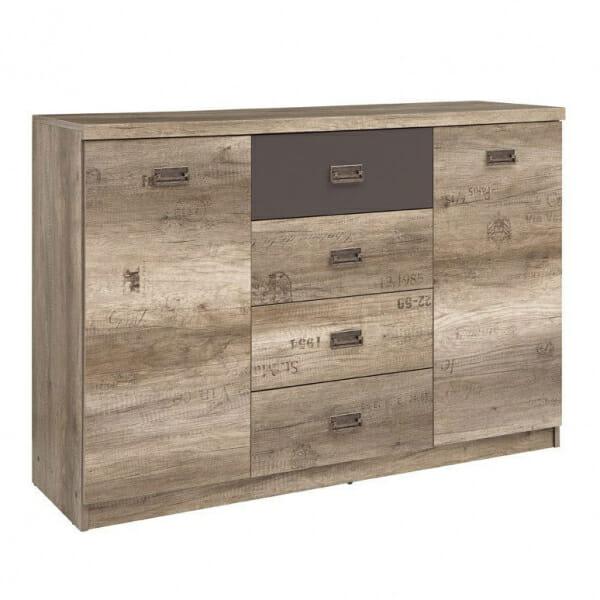 Голям шкаф с 4 чекмеджета и 2 вратички Малкълм