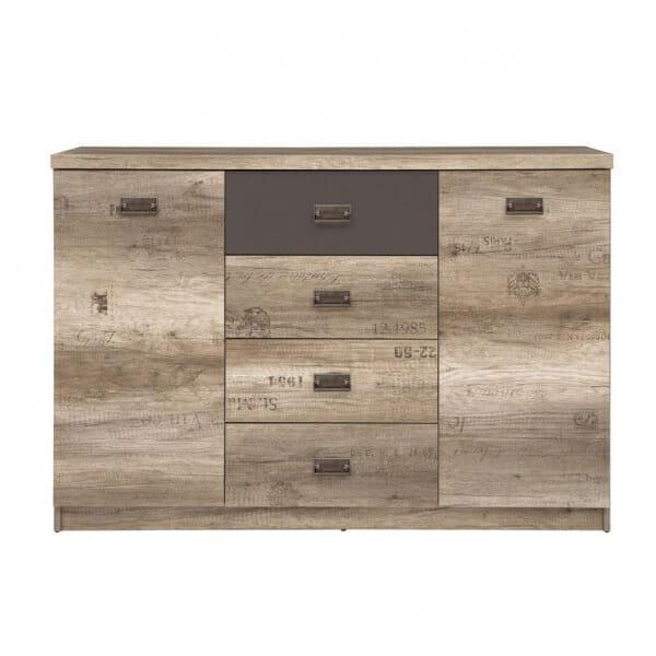 Голям шкаф с 4 чекмеджета и 2 вратички Малкълм - отпред