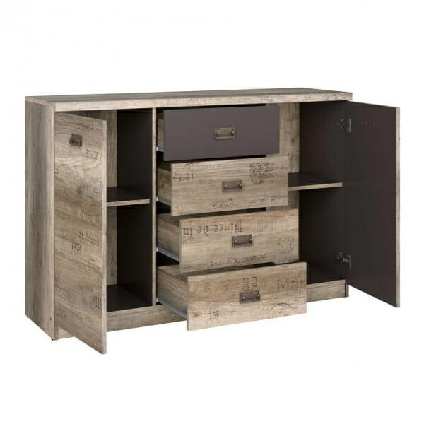 Голям шкаф с 4 чекмеджета и 2 вратички Малкълм - разпределение