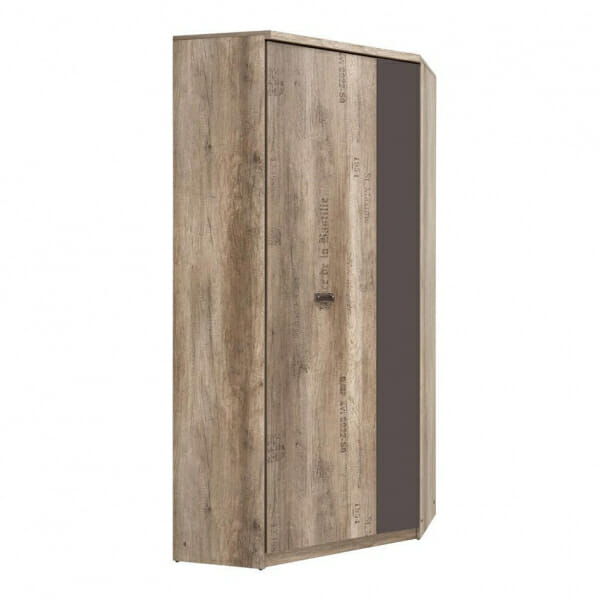 Голям ъглов гардероб в дървесен цвят Малкълм