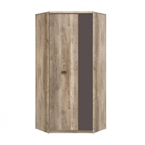 Голям ъглов гардероб в дървесен цвят Малкълм - отпред