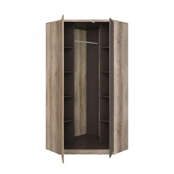 Голям ъглов гардероб в дървесен цвят Малкълм - разпределение
