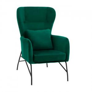 Кадифено кресло с мека възглавничка и метална основа-зелен