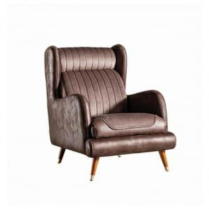 Кафяво кресло с крака от бук със златист акцент Rino III