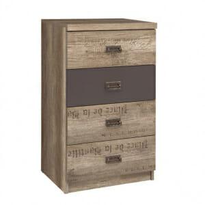 Компактен скрин с 4 чекмеджета Малкълм