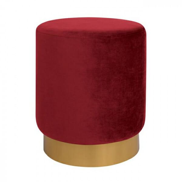 Кръгла табуретка с метална основа в златисто и сребристо-червен