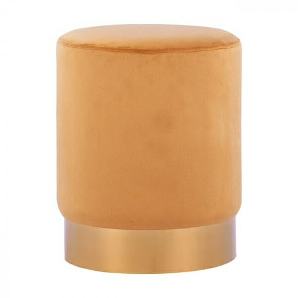 Кръгла табуретка с метална основа в златисто и сребристо-оранжев