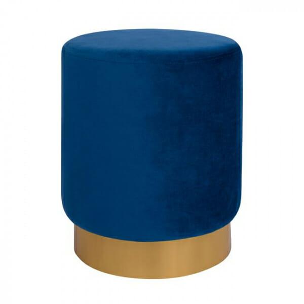 Кръгла табуретка с метална основа в златисто и сребристо-син