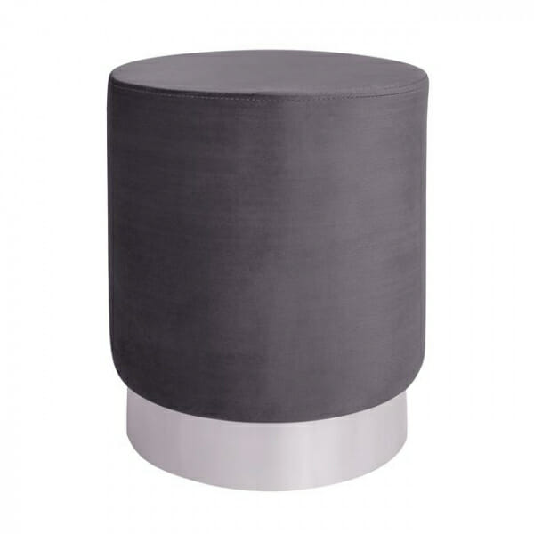 Кръгла табуретка с метална основа в златисто и сребристо-сив