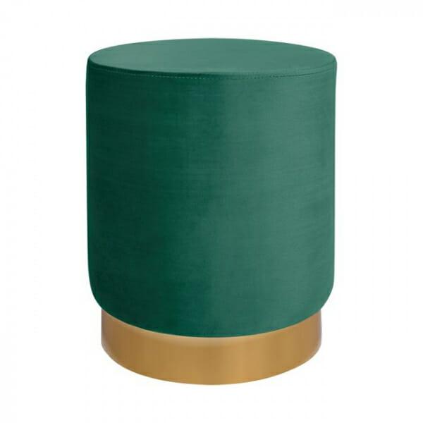 Кръгла табуретка с метална основа в златисто и сребристо-зелен