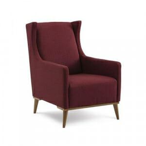 Кресло с текстилна дамаска в цвят бордо