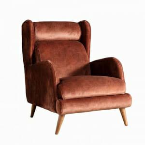 Кресло с текстилна дамаска в кафяв цвят Rino II