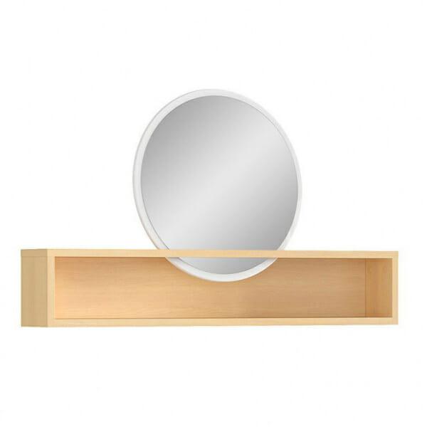 Кръгло огледало с дървена етажерка Пори