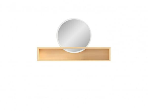 Кръгло огледало с дървена етажерка Пори - отпред