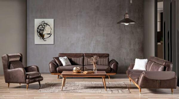 Луксозен триместен диван с красиви детайли Rino III-примерна подредба